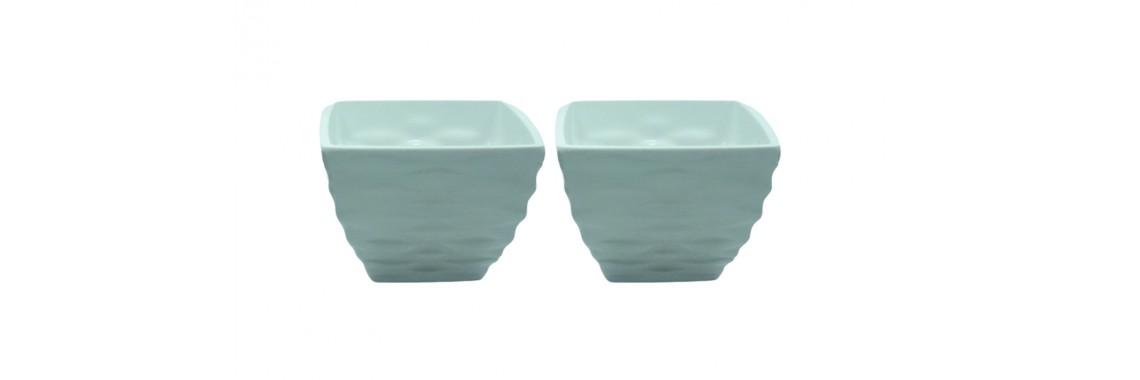 02 Vasos Melanina Wave Branco 8x10cm