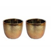 Cachepot Vaso Ceramica Dourado 8cm X 9,5cm