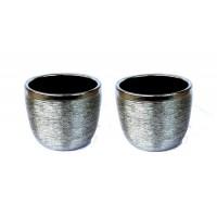 Cachepot Vaso Ceramica Prateado 8cm X 9,5cm