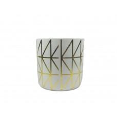 Cachepot Vaso Porcelana Listras Douradas