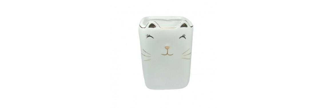 Cachepot Vaso Porcelana Importado 12x9x9cm Gatinho Porta Treco